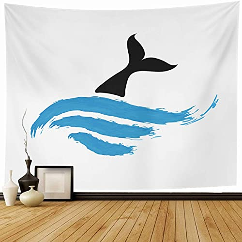 Tapiz Colgante de pared Blanco Ballena Azul Peces Agua Vida Silvestre Naturaleza Resumen Delfín Emblema Pesca Cola de pescado Comida Decoración para el hogar Tapices Decorativos Dormitorio Sala de est