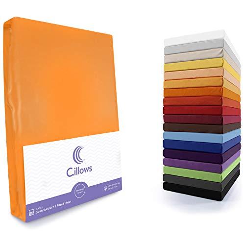 Cillows Jersey Spannbettlaken, Spannbetttuch 100% Baumwolle in vielen Größen und Farben MARKENQUALITÄT ÖKOTEX Standard 100   180x200-200x220 cm - Farbe: Orange 160 g/m2 Qualität