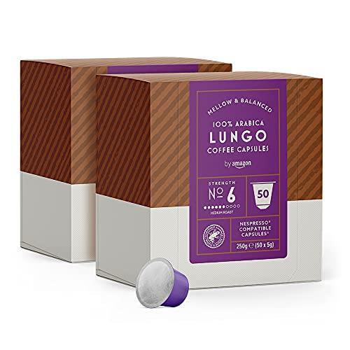 by Amazon Cápsulas Lungo, compatibles con Nespresso - 100 cápsulas (2 x 50)