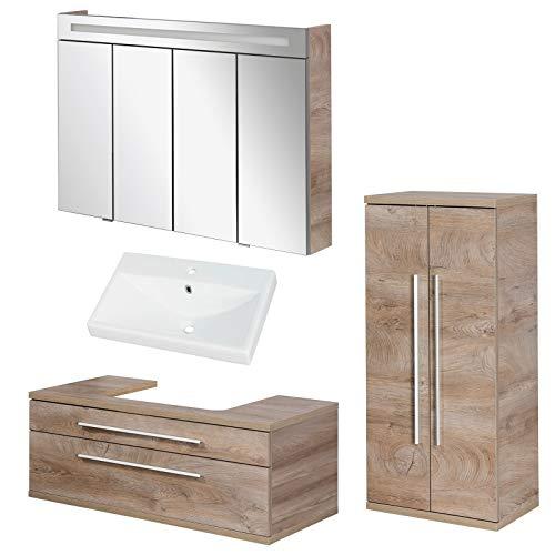FACKELMANN Natur Badmöbel Set Stanford 4tlg. mit Waschtisch Unterschrank hängend & Keramikbecken 110 cm & LED Spiegelschrank