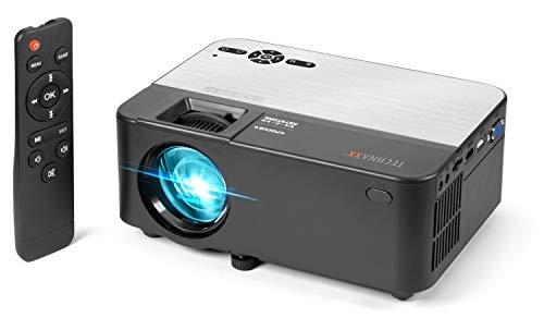Mini-Projektor mit Multimedia-Player und Fernbedienung.