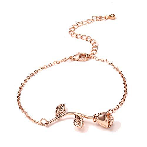 Ciondolo collana pendente fiore rosa rossa 3D, romantico regalo rosa per le donne, bellezza e la bestia rosa gioielli, collana Gardeners (Oro rosa)