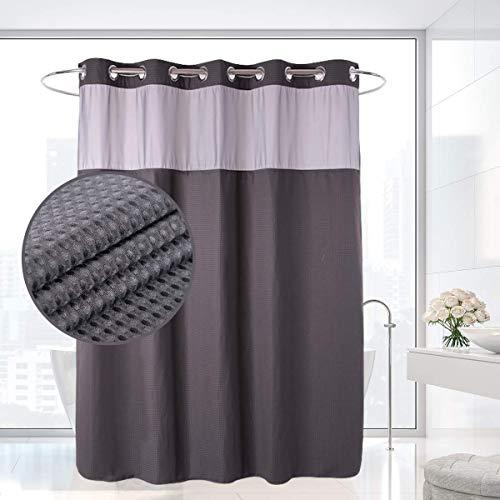 HappyBath Extralange hakenlose Textil Duschvorhänge bordeaux mit herausnehmbarem Polyeser Material Futter - 100prozent wasserdicht - Rot 71x79 grau