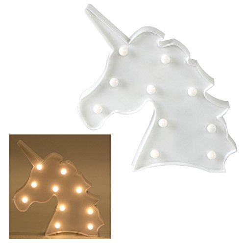 Einhorn-Lampe Schild Einhornkopf LED Lampe Einhorn Unicorn Leuchte Wandlampe (weiß)