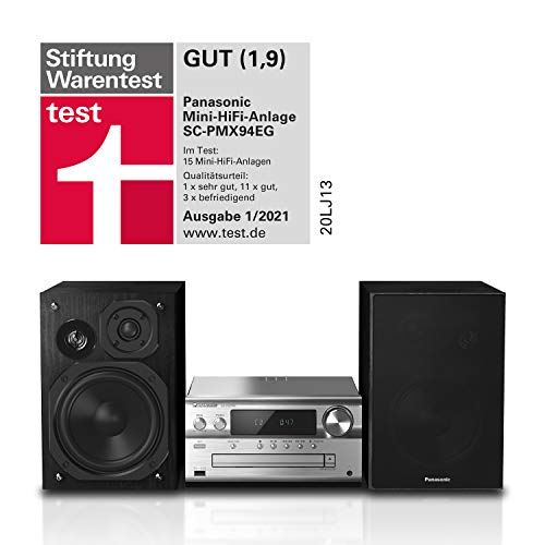 Panasonic - Sistema Micro HiFi (120 Watt RMS, radio digitale DAB+, CD, radio FM, Bluetooth, USB, AUX), colore: Nero, SC-PMX94EG-K single argento