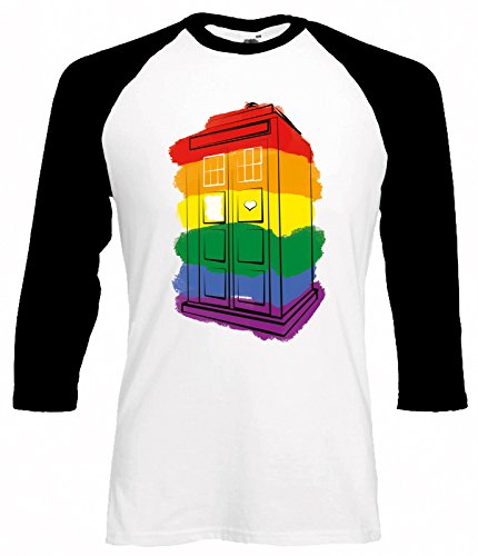 Doctor Who Rainbow Paint Tardis Baseball T-Hemd   S