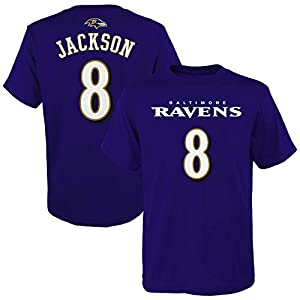 Outerstuff Youth Lamar Jackson Purple Baltimore Ravens Mainliner Player Name & Number T-Shirt