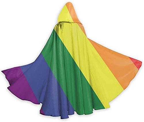 remmber me Bandera de Orgullo Gay LGBT Capa de Halloween Capa con Capucha Elegante con cordón Adulto Cool Bruja Túnica Extra Larga Parte del Cabo Negro 59x15.8 Pulgadas