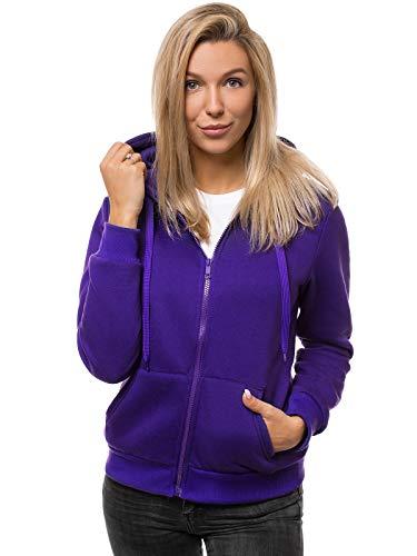 OZONEE Damen Kapuzenpullover Sweatjacke Sweatshirt Farbvarianten Kapuzenjacke Kapuzenpulli Kapuze Langarm Hoodie Sport Style Casual Fitness Training Basic JS/W03 Violet L