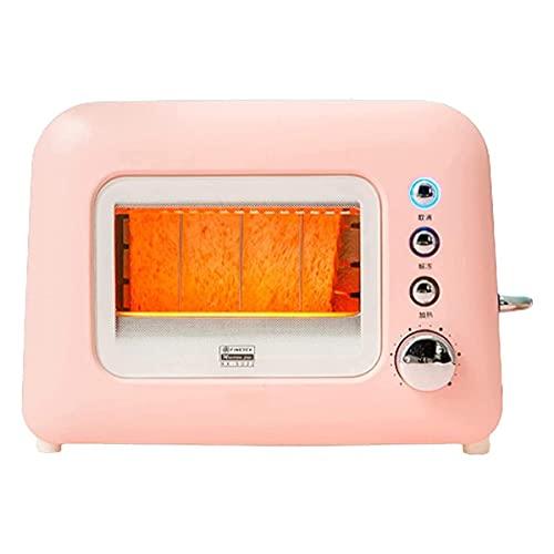 LINANNAN Toasters Tostador eléctrico Máquina de Pan Automático Transparente 6 Engranajes Ajuste de Acero Inoxidable Cubierta de Polvo (Color: b)