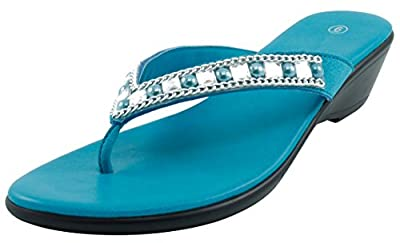 Cambridge Select Women's Studded Crystal Rhinestone Bead Chain Thong Flip-Flop Mid Wedge Sandal (10 B(M) US, Turquoise)