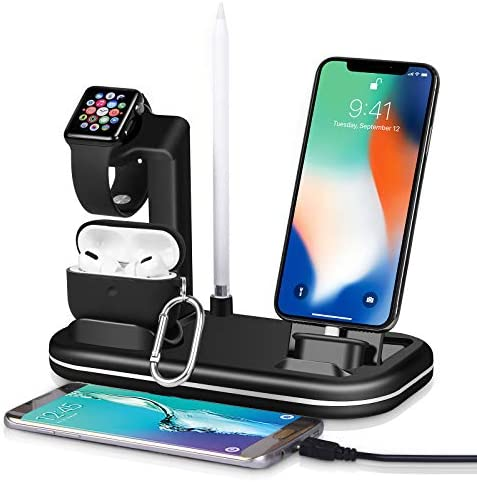 Kuvcco 4 in 1 Charger Station 2usb Port for Apple Watch Charger Stand iPhone AirPods Charger product image