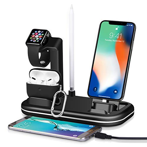 Kuvcco 4 in 1 Charger Station,2usb Port for Apple Watch Charger Stand, iPhone AirPods Charger,Desk Charger Charging Stand Dock Station for Apple iWatch 6/SE/Airpods Pro/iPhone 12 /iPad/iPod (Black)