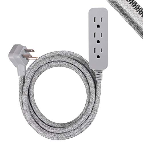 GE Pro 3-Outlet Surge Protector Power Strip, 15 ft Designer Braided Extension Cord, Flat Plug, UL Listed, Heather Gray, 45915
