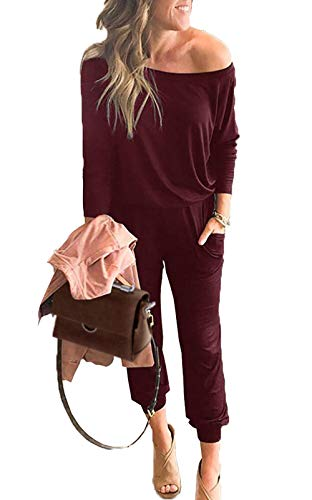PRETTYGARDEN Women's Casual Long Sleeve Jumpsuit Crewneck One Off Shoulder Elastic Waist Stretchy Romper with Pockets Wine Red