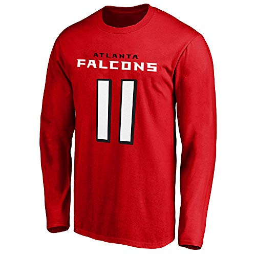NFL Youth Team Color Mainliner Player Name and Number Long Sleeve Jersey T-Shirt (Medium 10/12, Julio Jones Atlanta Falcons Red)