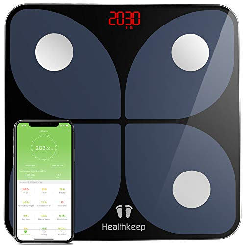 Scales for Body Weight Healthkeep Bathroom Weight Scale Smart Wireless BMI Body Composition Monitor Health Analyzer with Smartphone App for Body Weight Fat Water BMI BMR Muscle Mass 396 lbs