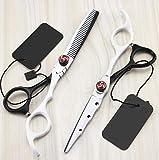 Peluquería Tijeras Set, corte de pelo profesional tijeras de peluquería y tijeras de reducción for el salón, peluqueros o en el hogar, la luz y Sharp (Color : White)