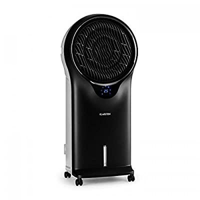 Klarstein Whirlwind 3-in-1- Fan, Air Cooler, Humidifier, Climate Improver, 5.5 litres, 90W, 3 Levels, Different Modes, 360° Rotating Slats, Remote Control, Black