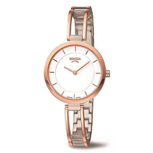 Boccia Damen Analog Quarz Uhr mit Titan Armband 3264-04