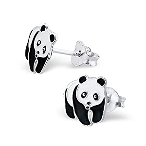 Panda Ear Studs 925 Sterling Silver With Epoxy Color Children Jewerly Girls