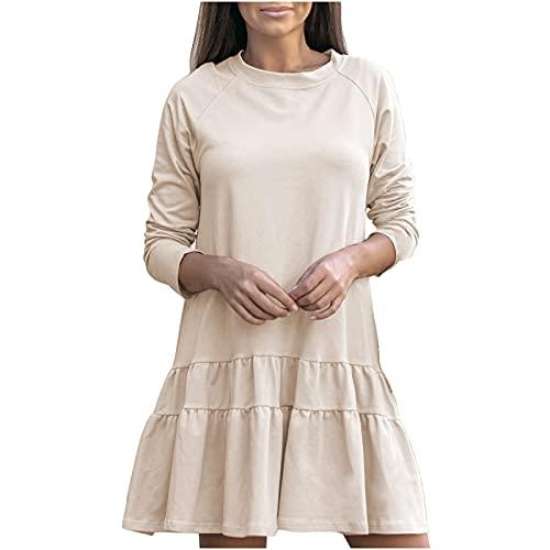 routinfly Mini vestido de manga larga con volantes sueltos y cuello redondo para mujer