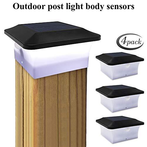 4 pcs Solar Pfostenkappen Leuchte, GEYUEYA Home 32LED Solar Zaunpfosten Lampe mit Bewegungssensor, IP65 Wasserdicht Solar Säulenlampe Landschaft Lampe für Zaunpfosten, Leitplanke, Deck(10cm*10cm)