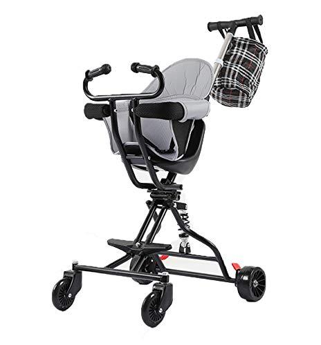 JKNMRL Trolley Ligero/Trolley para niños con un Clic Plegable, Varilla de Empuje Ajustable, Negro
