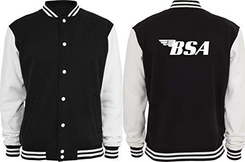 Textilhandel Hering Collegejacke - BSA für die Motorrad Fans! (Schwarz / Weiß, XL)