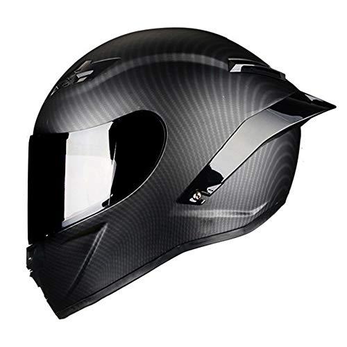 Woljay Vollgesicht Motorradhelm Unisex-Adult Offroad Moto Street Bike ATV Helme Mattschwarz DOT Approved (Smoke,L)