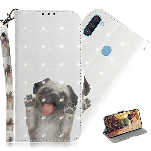 MRSTERUS Galaxy M11 Cover Case 3D Full Stylish Magnetic Buckle bookstyle Wallet Case Colour Kickstand Protect Credit Cards Pockets Case for Galaxy A11 Pug TX