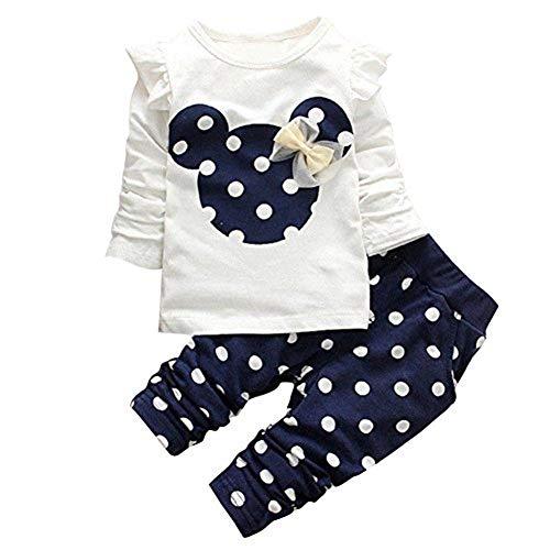 Bambina Completini e Coordinati Neonata Neonato Pigiami Due Pezzi Top + Pantaloni Abiti Set 2pcs Prima Infanzia Abbigliamento (B, 9-12M)