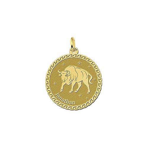 Namesforever ronde hanger van 14 karaat (585) geelgoud | motief stier sterrenbeeld dierenriemteken en naamgravure op de voorkant