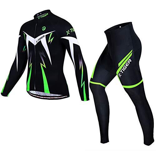 D.stil – Conjunto de camiseta de manga larga con asiento acolchado para bicicleta de montaña de carreras, jersey + pantalones cortos de ciclismo M – XXL (negro y verde, L)