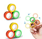 Finger Magnetic Rings Unzip Toy Decompression Magnetic Fingertip Magic Ring Gyro Toys Anxiety Disorder ADHD Stress Spinning Top Magnetic Fidget Spinner Toys for Adults Children (6 PCS colors random)