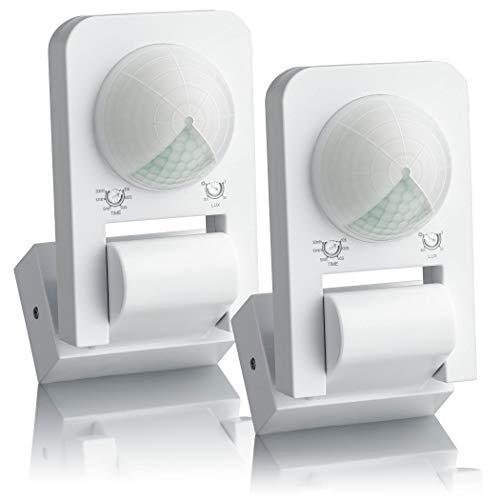 SEBSON® Bewegungsmelder Aussen IP65, Aufputz Wand Decken Montage, programmierbar, 20m / 360°, LED geeignet, Infrarot Sensor mit 3 Sensoren, 2er Pack