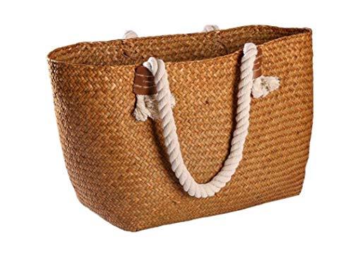 Nuokix Straw Woven Bag Bathroom Bedroom Sundries Bag Laundry Basket Storage Bag Creative Female Shoulder Bag Handle Basket 55 26 34 21 39cm