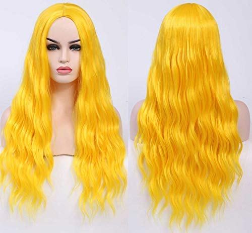 Benegem 26 inch Yellow long Wavy Wig Synthetic Deep Wave Curly Middle Part Wig for Halloween Party Daily Wear