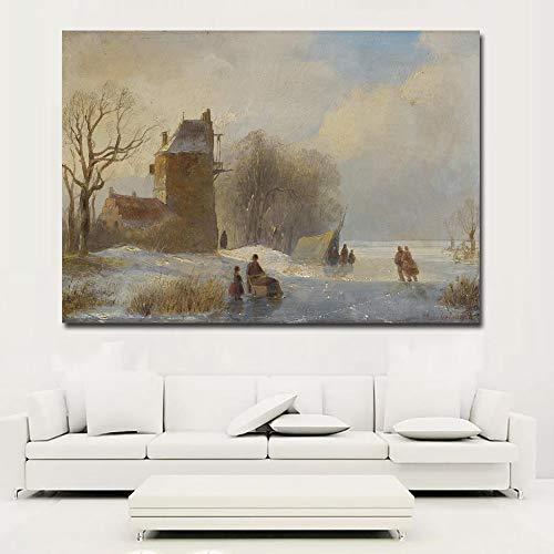 RTCKF Winter Schnee Szene Dorf Landschaft Poster leinwanddruck auf leinwand Kunstdruck malerei Wohnzimmer Dekoration (kein Rahmen) A2 40x50 cm