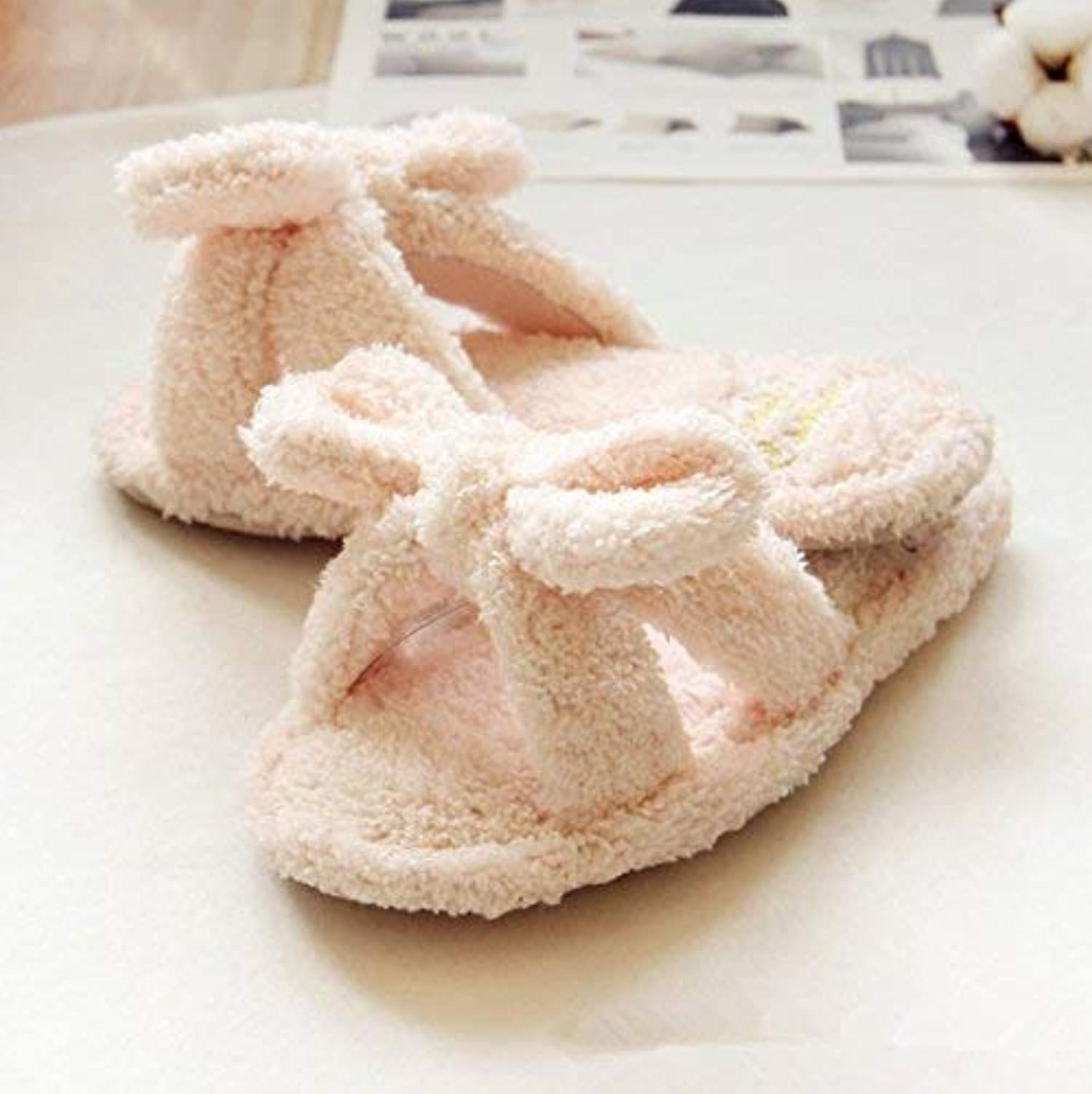 JaHGDU Lady Leisure at Home Spring and Autumn Plush Slippers Home Slippers Warm Pink White Slippers for Women