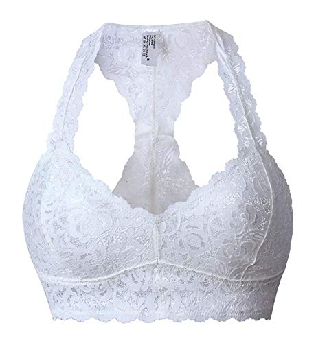SHAPERX Womens Floral Lace Bralette Padded Breathable Sexy Racerback Lace Bra,SZ8333-White-S