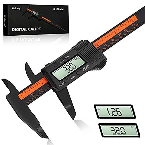 Calibro Digitale Professionale - Wukong Calibro Micrometro 150 mm/6 Pollici con Ampio Display LCD per Misurzione Esterna, Interna, Misurazione di Profondità e di Passo