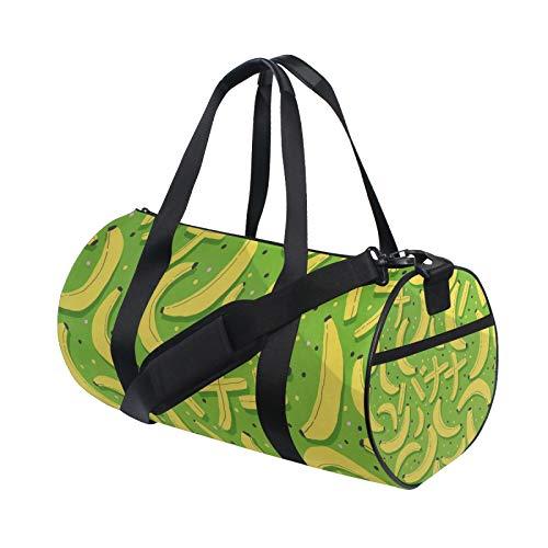 Bananen-Muster Grafik Kunstdruck auf grünem Barrel Duffle Turnbeutel für Damen Herren Reise Sport Camp Tanz Schultertasche