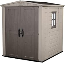 Keter Factor 6x6 Large Resin Outdoor Shed for Patio Furniture, Lawn Mower, and Bike Storage, Beige/Brown