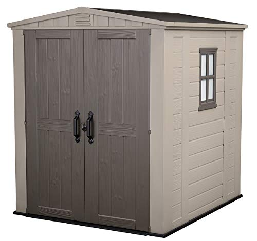 KETER Factor 6×6 Resin Outdoor Storage Shed, Beige/Brown