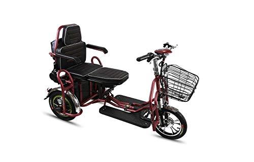SEESEE.U Motorrad Mini Folding Elektroauto, Erwachsenen Dreirad Mini Pedal Elektroauto, tragbare Faltbare Lithiumbatterie Reisebatterie Auto, Outdoor Motorrad Reiserad, Rot, 20A