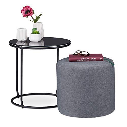 Relaxdays Beistelltisch mit Hocker, rund, Couchtisch und Pouf Kombination, platzsparend, HxD 40x40cm, schwarz und grau, Metall, 40 x 40 x 40 cm