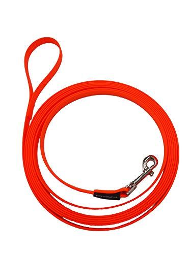elropet Biothane sleeplijn rijderlijn neonoranje, 10 m 9 mm zonder polsband genaaid geleider sleeplijn hondenriem