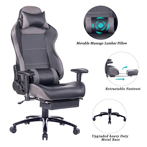 HEALGEN Massage Gaming Chair Office Chair with Heavy Duty Metal Base,Reclining High Back PU Leather PC Computer Racing Desk Chair with Footrest and Lumbar Support (8263 Grey) brown chair gaming