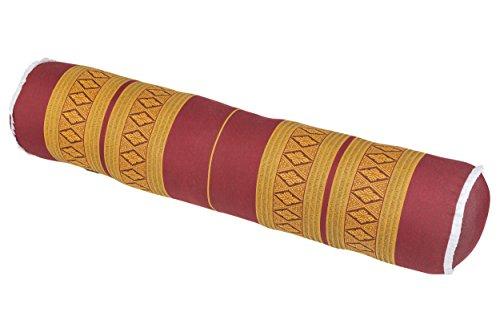 Handelsturm Thaikissen Rolle ca. 80x20 cm Kapok Yogarolle Kissenrolle für Massage oder Yoga Feste Nackenrolle orientrot